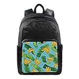 QMIN - Mochila de lona, diseño de hojas de plátano, impermeable, para viajes, universidad, bolsa de hombro, organizador para niños, niñas, mujeres, hombres