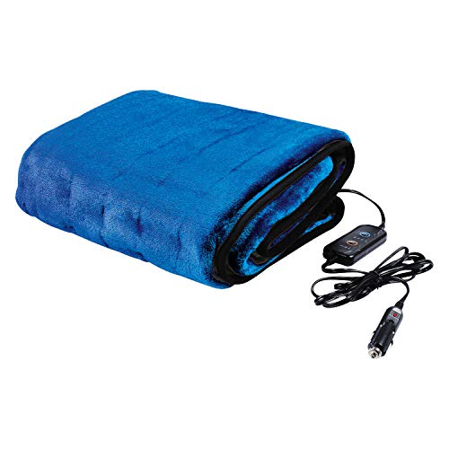 Great Working Tools Heated Electric Car Blanket, Blue - 3 Heat Settings, Auto Shutoff, Washable, 55