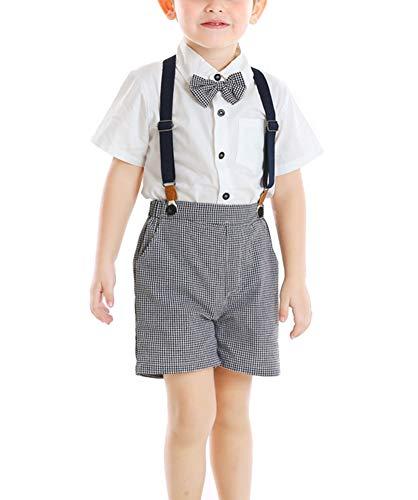 Baby Boys Gentleman Outfit Suits Infant Boys Short Pants Set Short Sleeve Shirt Suspender Pants Bow Tie White 4T