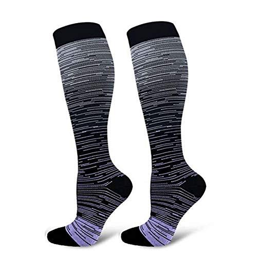 QWERGLL Chaussettes Sport Pour Hommes Femmes Compression Dégradé Couleur Mixage Chaussettes Genou Haut/Long Nylon Bonneterie Chaussures S-Xl, H, L XL