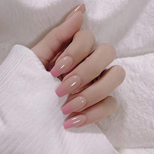 Sethexy Glänzend Ballerina Lange Falscher Nagel Sarg Nude Pink Falsche Fingernägel Gradient Kunstdesign 24St Acryl Drücken Sie auf Nagelspitzen für Frauen und Mädchen