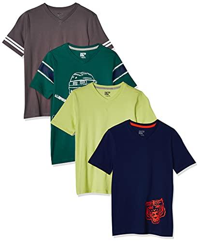 Spotted Zebra Jungen 4-Pack Short-Sleeve V-Neck T-Shirts, mehrfarbig (4-pack Hockey), M