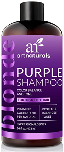 ArtNaturals Purple Shampoo for Blonde Hair – (16 Fl Oz / 473ml) – Protects, Balances and Tones – Bleached, Color Treated and Silver Hair - Sulfate Free.