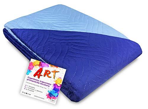 Tex family Couvre-lit matelassé Art couleur unie bicolore – 1 place, bleu
