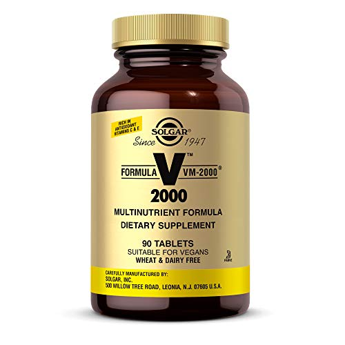 Solgar Formula VM2000 Multinutrient System Tablets Premium Quality Multiple Contains Zinc Supports A Healthy Immune System Vegan Dairy Free Kosher 45 Servings, 90 Count