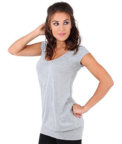 Damen Sommer T-Shirt Kurzarmshirt V-Ausschnitt Bluse Tunika Oberteil Top, Grau, 44, 7604-GRY-16