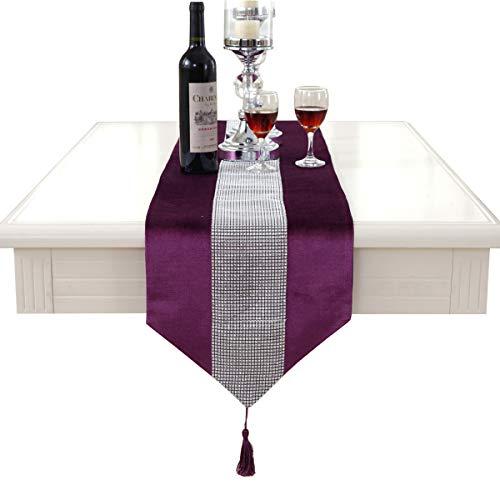 Chemin de table à strass tassel décoration violet 12\