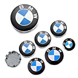 7PCS Fit for BMW Emblem Logo Set,Fit for BMW Wheel Center Caps,Center Wheel,Trunk and Hood Emblem Center Caps,82mm+74mm Emblem Trunk,Steering Wheel Emblem Decal Fit for BMW Emblem Logo Replacement