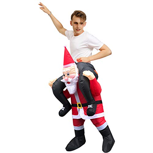 Asitlf Traje de Dibujos Animados de Navidad Inflable Vestido de Papá Noel Mascota Ropa de árbol de Navidad-A
