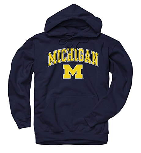 Campus Colors NCAA Adult Arch & Logo Gameday Hooded Sweatshirt (Michigan Wolverines - Navy, Small)