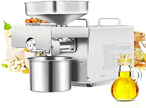 CGOLDENWALL 1500W Commercial Automatic Oil Press Machine Industrial Oil pressing machine Nuts Seeds Oil Presser Pressing Machine Cold Hot Press All Stainless Steel High Oil Extractor CE (110V)