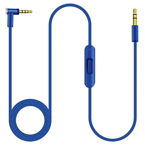 NSEN Solo 2 Ersatzkabel, AUX-Kabel, kompatibel mit Beats by Dr. Dre Kopfhörern Studio/Solo/Pro/Detox/Wireless/Mixr/Executive/Pill, Audio-Kabel in Line Mikrofon und Steuerung für Android iOS (blau)