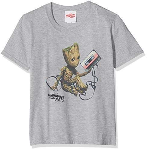 Marvel Guardians of The Galaxy Vol2 Groot Tape Camiseta, Gris (Sports Grey SpGry), 7-8 años (Talla del Fabricante: 7-8Y) para Niñas