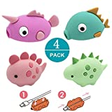LucBuy Cable Buddies, Protector de Cable de iPhone Compatible Protector Saver Cable Chewers Cable Cute Animal Bite Cable Accessory-4 Pack for iPhone XS MAX/X/8 Plus/7/6/5 (2)