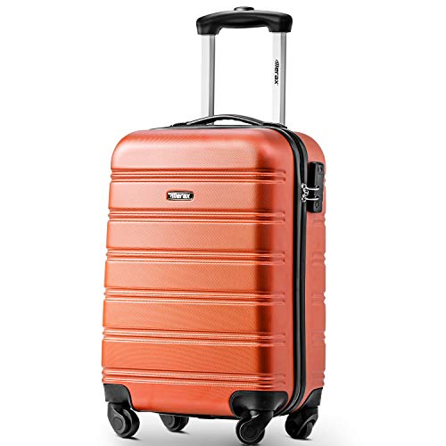 Merax  Super Lightweight ABS Hard Shell Travel Carry On Cabin Hand Luggage Suitcase with 4 Wheels, Approved for Ryanair, Easyjet, British Airways, Virgin Atlantic, Flybe and Many More (Orange)