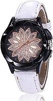 女性のクォーツ時計シンプルなファッションブラックホワイトブルーは中国のクォーツホワイトブラックレッドクリエイティブデザイン新しいカジュアルウォッチを置きます (Color : Blanc)