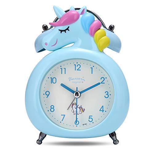 Lafocuse 10cm Despertador Infantil Analógico con Doble Campana y Luz de Noche Reloj de Mesa Silencioso Gracioso Azul