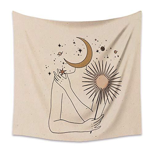 KHKJ Tapiz de Luna Retro Mandala Tarot Card Tapiz de Pared Boho Mountain Tapices para Colgar en la Pared Dormitorio Dormitorio Roomn Decoración de Pared A14 150x130cm