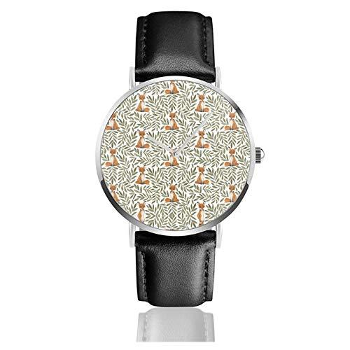 Reloj de cuero pequeño zorro y hojas unisex clásico casual moda reloj de cuarzo reloj de acero inoxidable con correa de cuero