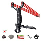 ALPEKE Professional SlingShots for Hunting, Outdoor Catapult Slingshot for Adult, Wrist Support Power Sling Shots with 3 Replacement Rubber Bands, 50 Steel and 50 Clay Ammo, 1 Slingshot Steel Target