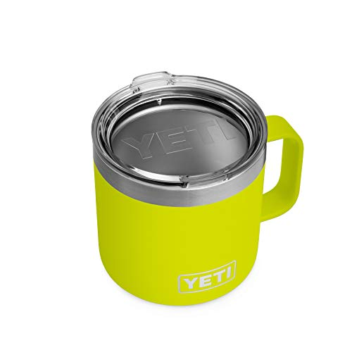 YETI Rambler 14 oz Mug, Stainless Steel, Vacuum Insulated with Standard Lid, Chartreuse