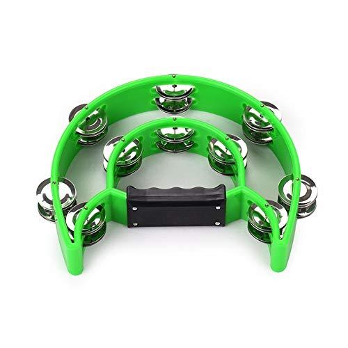 Edmend Hand Tambourine Handbell Timbrel Percussion Spieluhr Doppel Reihen 20 Paare von Metall Jingles for Karaoke KTV Partei Kinderspiele Musikinstrument für Kinder (Color : Green)
