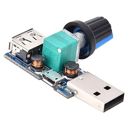 Controlador de velocidad del ventilador, con el regulador de voltaje de aluminio DC4 ~ 12V DC2.5 ~ 8.0V para el controlador de velocidad del ventilador USB, la velocidad del viento y el regulador de