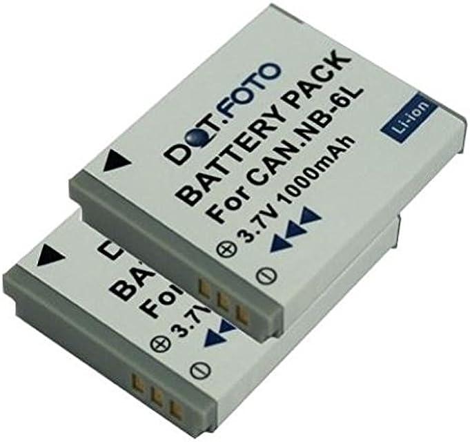 2 x Canon NB-6L NB-6LH PREMIUM Dot.Foto Batería de Reemplazo - 3.7V/1000mAh - Garantía de 2 años [Vea compatibilidad en la descripción]