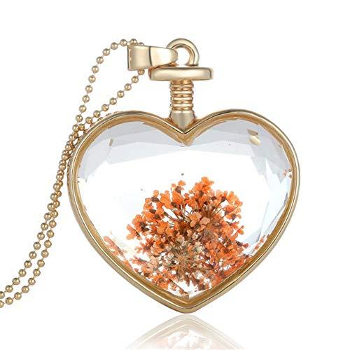 CXLD Halskette 2019 Charme anhänger Halskette getrocknete Blume Grafik medaillon einfache herzförmige Glas Halskette Gold Kette Frauen schmuck Mode