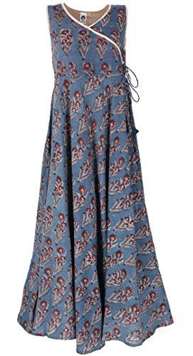 GURU SHOP Maxikleid, Sommerkleid, Damen, Taubenblau, Baumwolle, Size:S (36), Lange & Midi-Kleider Alternative Bekleidung