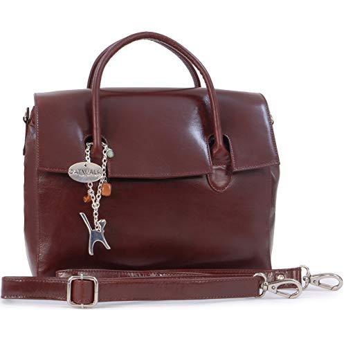 Catwalk Collection Handbags - Ladies' Vintage Leather Top Handle Cross Body Bag - Women's Work Organiser Work - iPad/Tablet Bag - ELLA - Brown