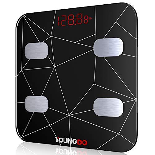 YOUNGDO Wiederaufladbare Körperfettwaage, Ganzkörperanalyse Bluetooth Körperwaage mit Smart APP für Fitness&Diät, Digitale Personenwaage für Körperfett, BMI, Gewicht, Protein, BMR, Wasser, usw