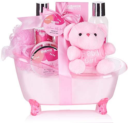 BRUBAKER 7-teiliges Baby Geschenkset Mädchen - Geschenk für Neugeborene Babyparty Mädchen - Babypflege Set mit Wanne und Plüschbär - Baby Geschenk Rosa