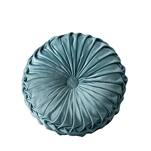 Leezo - Cojín de terciopelo plisado redondo de calabaza, cojín de suelo decorativo para el hogar, sofá, silla, cama, coche, cojín redondo, plisado, almohada redonda