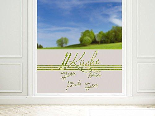 GRAZDesign Glastür Folie Sichtschutz Aufkleber Guten Appetit für Küchentür oder Küchenfenster, Blickdicht und lichtdurchlässig / 80x57cm