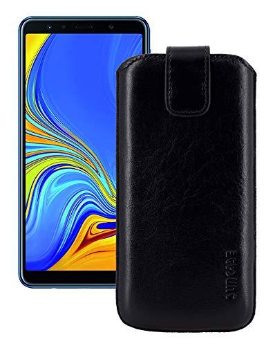 Suncase ECHT Leder Tasche kompatibel mit Samsung Galaxy A7 (2018) mit ZUSÄTZLICHER Transparent Hülle | Schale | Silikon Bumper Handytasche (mit Rückzugsfunktion & Magnetverschluss) in schwarz