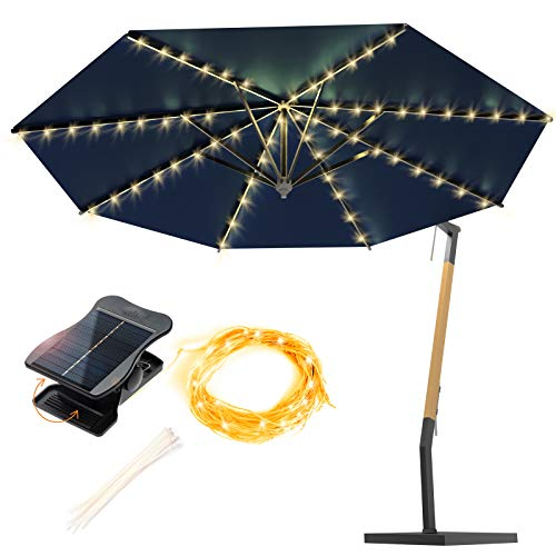 ANGMLN 1 Pack Patio Umbrella Lights Solar Powered Outdoor 8 Modes 112 LED Parasol String Light Waterproof Umbrella Pole Solar Lights for Patio Camping Tents