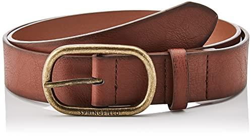 Springfield Cinturón Efecto Piel Hebilla Dorada, Marron Oscuro, 95 para Hombre