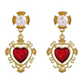 IDOXE Red Heart Golden Crown Stud Earring Descendants Queen of Hearts Ruby birthstones Costume Fan Jewelry Valentine's Day Sweetheart Pre Teen Gift for Her (Evie)