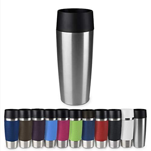 Emsa 513351 Travel Mug Classic Thermo-/Isolierbecher, Fassungsvermögen: 360 ml, hält 4h heiß/ 8h kalt, 100% dicht, auslaufsicher, Quick-Press-Verschluss, 360°-Trinköffnung, edelstahl