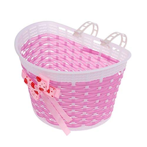 MagiDeal Fahrradkorb Lenkerkorb Fahrrad Korb Körbchen für Kinder Mädchen - Mehrfarbig - Rosa