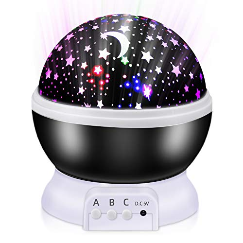 Proyector estrellas,Lampara proyector bebe,Lampara estrellas infantil,360° Rotación y 8 Modos Iluminación Proyector Estrellas, Luz Nocturna para Niños y Bebés Cumpleaños,Navidad, Halloween