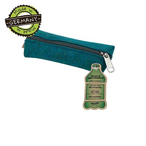 BIOZOYG Filz Federmappe Fynn PET Größe S aus PET Recycling Filz I Etui für Stifte Kugelschreiber Petrol