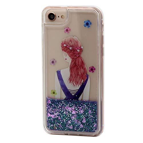 Keyihan iPhone Hoesje voor Meisjes Mode Make-up Oogschaduw Pallete Patroon Vloeiende Bling Quicksand Pailletten Glitter Vloeibare Hard Cover Zachte Bumper voor iPhone, Bumper Hoes, iPhone 6/6S/7/8, Pink Snowflake Quicksand
