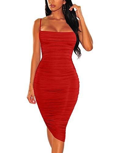 BEAGIMEG Vestido Midi para mujer con correa de espagueti sin espalda y fruncido, Moderno / Equipada, L, Negro