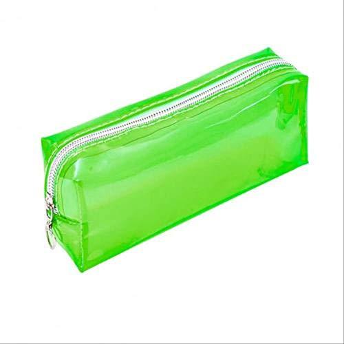 Estuche de lápices de color sólido transparente portátil Bolsa de almacenamiento Papelería de PVC Estuches de lápices de oficina para material escolar Material escolar Fruta Verde