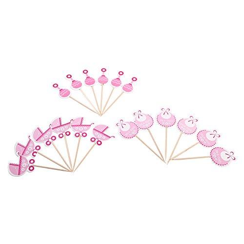 Kuchendekoration für Babys, Motiv: Kinderwagen, Rosa/Blau, 18 Stück Pink
