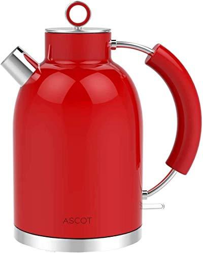 Wasserkocher Edelstahl, ASCOT 1.6 Liter Elektrischer Wasserkocher, BPA frei, Schnurlos mit 2200 Watt, Automatisch Abschaltung, Retro Design Kleiner Reisewasserkocher, Kompakter Teekocher-Rot