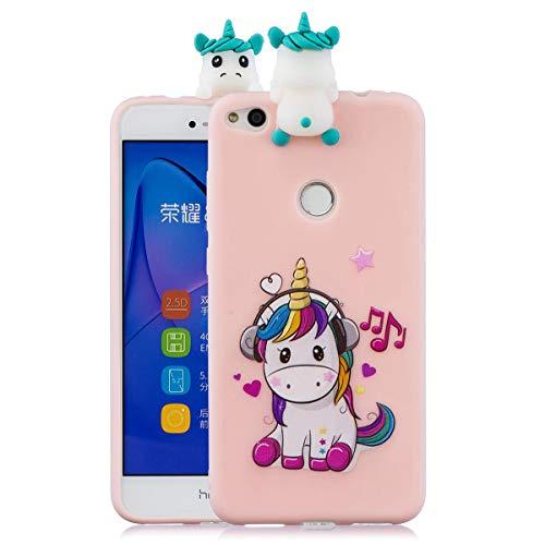 WUBAOUK Compatible con Funda Huawei P8 Lite 2017 Silicona 3D - Unicornio musical (Rosa)