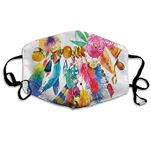 YYTT8 Gesichtsschutz Mundschutz Böhmisch inspirierte lebendige farbige Bildblumen Zierelemente Blätter drucken